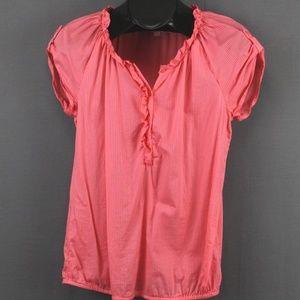 Ann Taylor LOFT Popover Shirt XS Salmon Pink Women